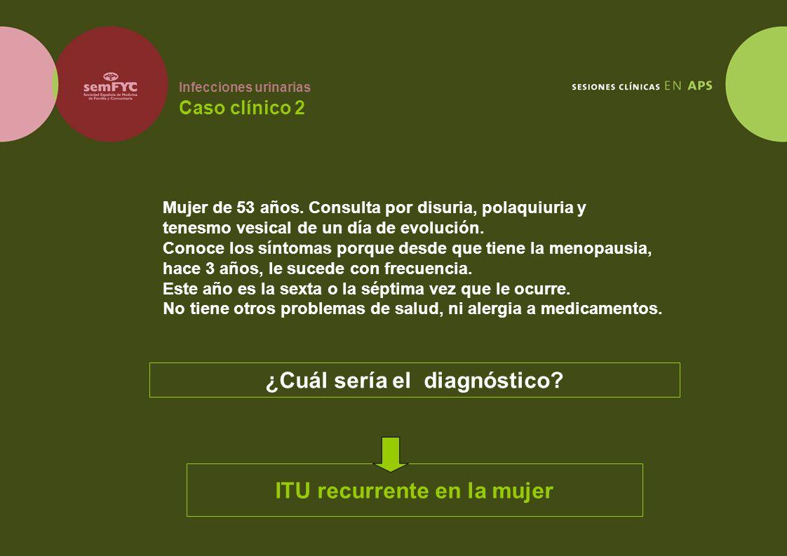 Infecciones urinarias Caso clínico 2 Mujer de 53 años. Consulta por disuria, polaquiuria y tenesmo vesical de un día de evolución. Conoce los síntomas