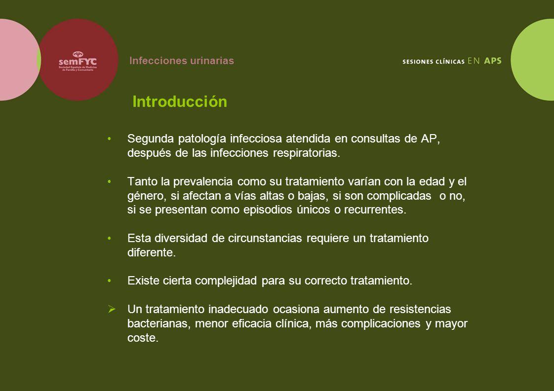 Infecciones urinarias Introducción Segunda patología infecciosa atendida en consultas de AP, después de las infecciones respiratorias. Tanto la preval