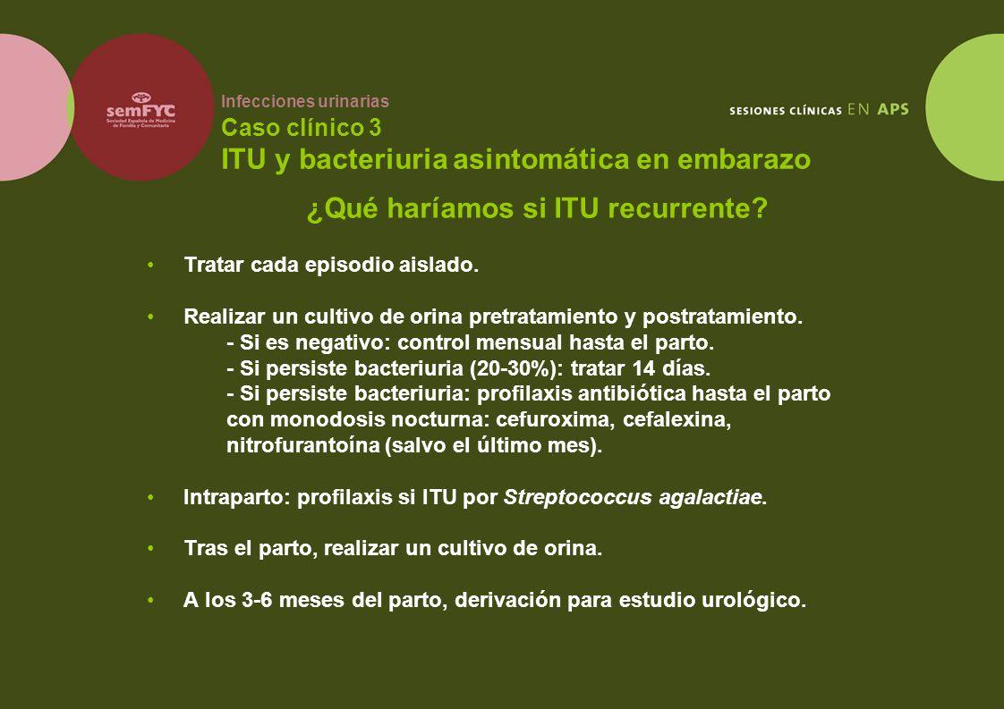 Infecciones urinarias Caso clínico 3 ITU y bacteriuria asintomática en embarazo Tratar cada episodio aislado. Realizar un cultivo de orina pretratamie