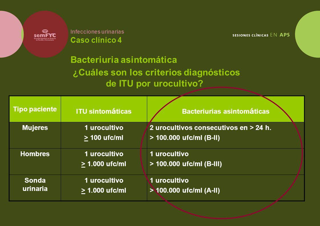 Infecciones urinarias Caso clínico 4 Bacteriuria asintomática ¿Cuáles son los criterios diagnósticos de ITU por urocultivo? Tipo paciente ITU sintom á