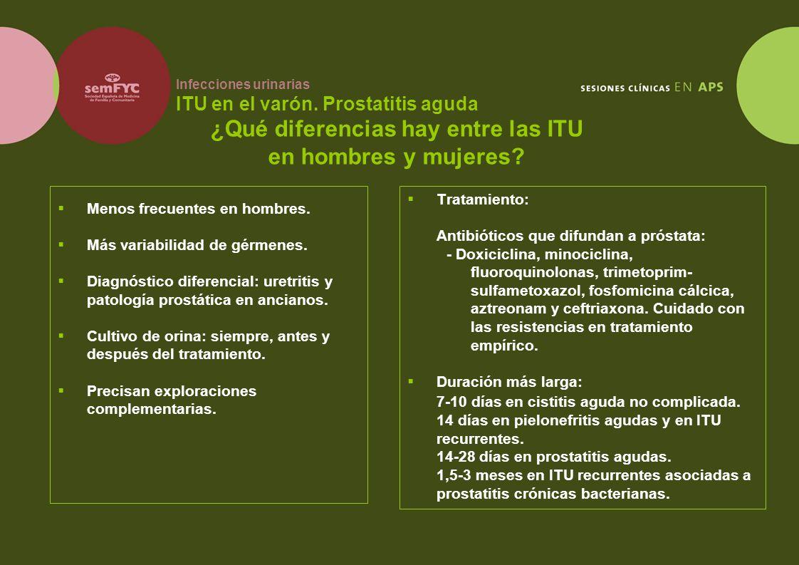 Infecciones urinarias ITU en el varón. Prostatitis aguda Menos frecuentes en hombres. Más variabilidad de gérmenes. Diagnóstico diferencial: uretritis
