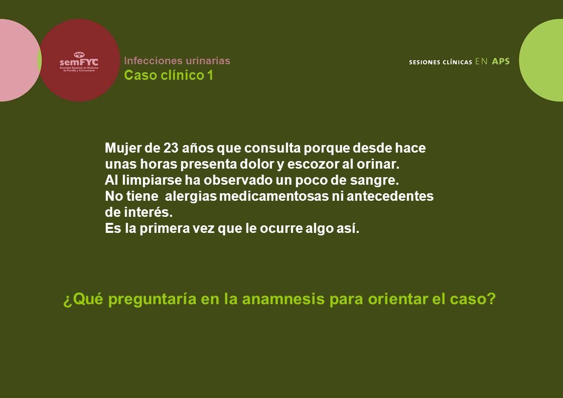 Infecciones urinarias Caso clínico 1 Mujer de 23 años que consulta porque desde hace unas horas presenta dolor y escozor al orinar. Al limpiarse ha ob