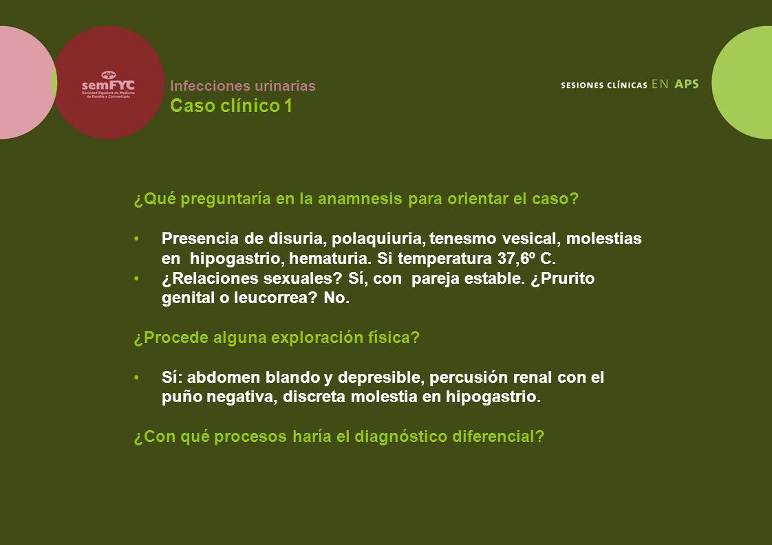Infecciones urinarias Caso clínico 1 ¿Qué preguntaría en la anamnesis para orientar el caso? Presencia de disuria, polaquiuria, tenesmo vesical, moles