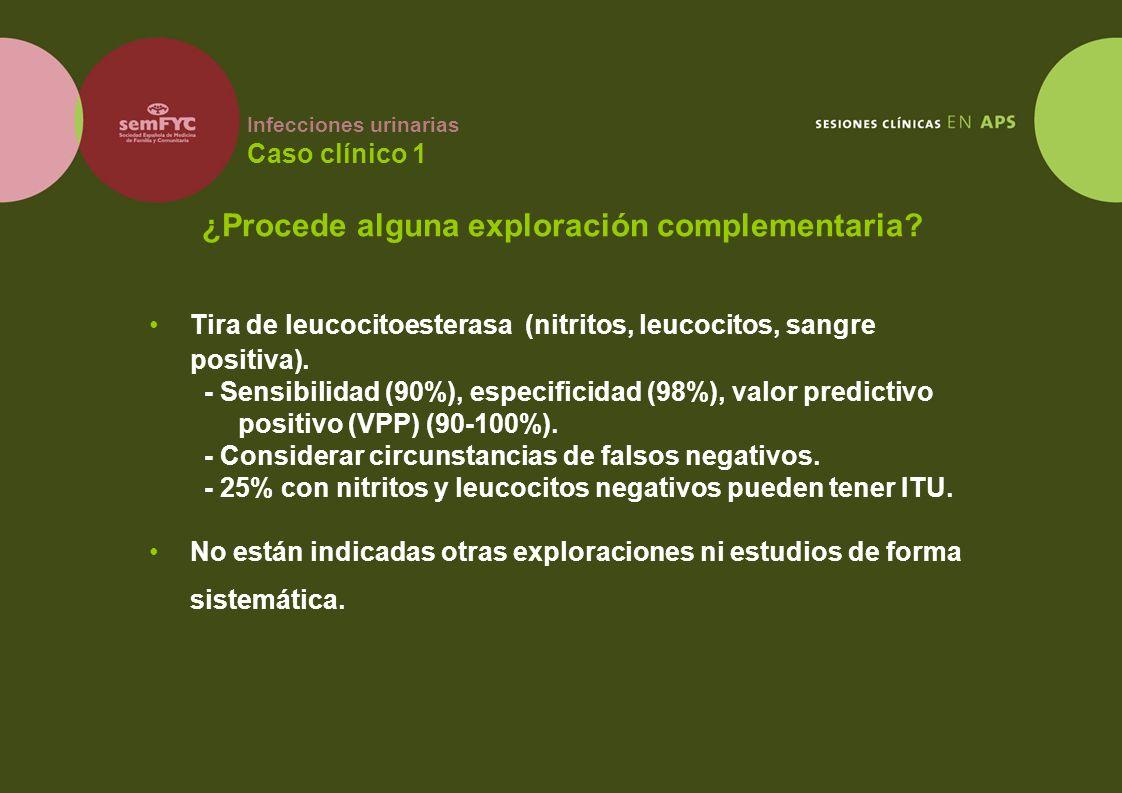 Infecciones urinarias Caso clínico 1 Tira de leucocitoesterasa (nitritos, leucocitos, sangre positiva). - Sensibilidad (90%), especificidad (98%), val