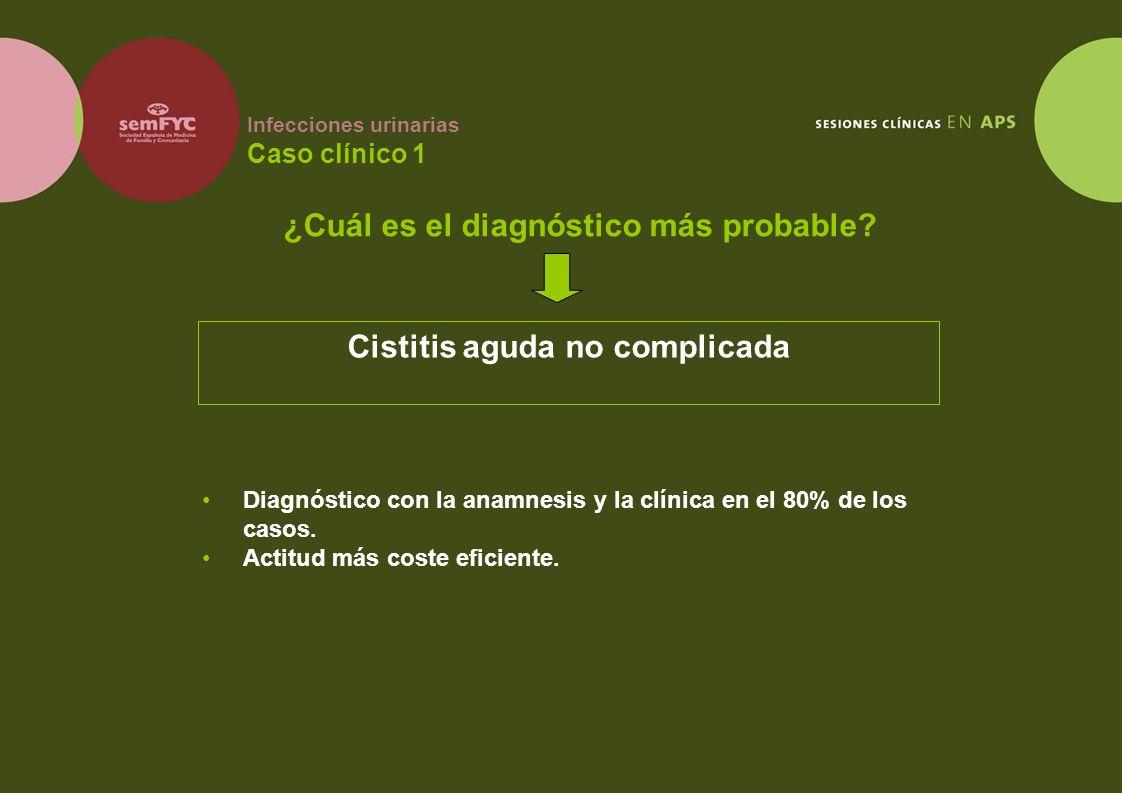 Infecciones urinarias Caso clínico 1 Diagnóstico con la anamnesis y la clínica en el 80% de los casos. Actitud más coste eficiente. ¿Cuál es el diagnó