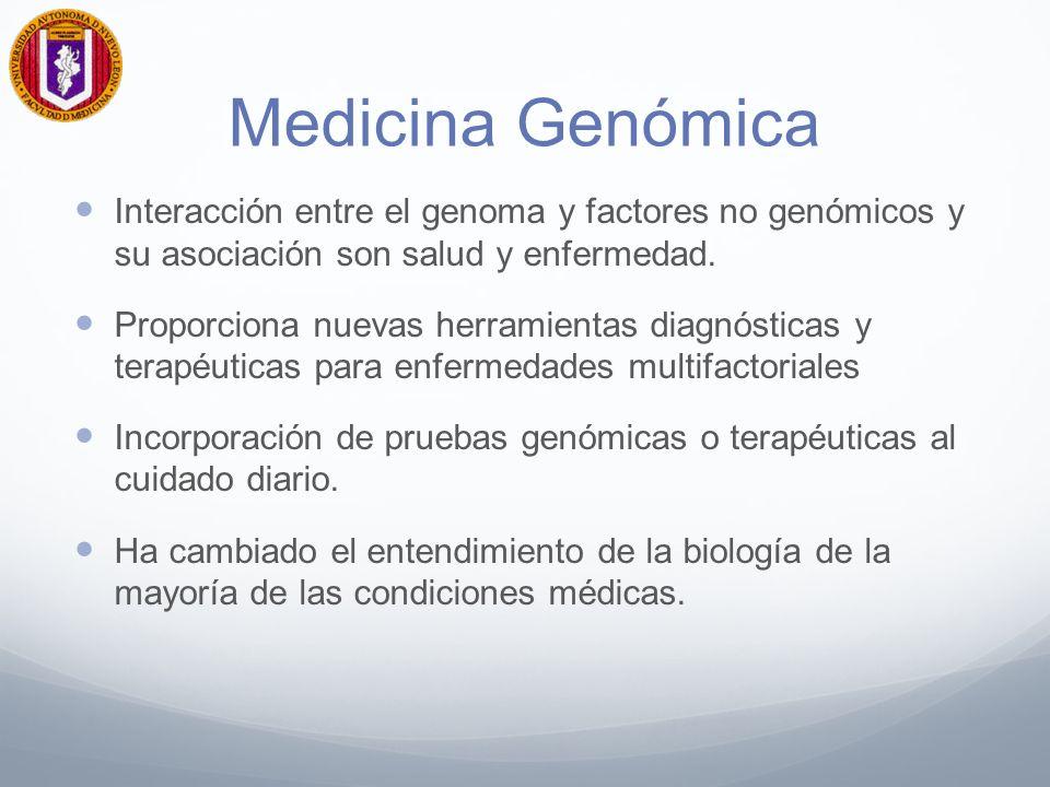 Interacción entre el genoma y factores no genómicos y su asociación son salud y enfermedad. Proporciona nuevas herramientas diagnósticas y terapéutica