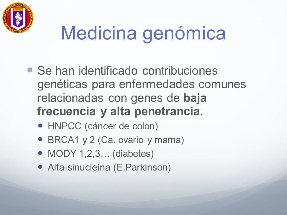 Medicina Genómica A nivel de población general la principal contribución ha sido la identificación de genes de alta frecuencia y baja penetrancia.