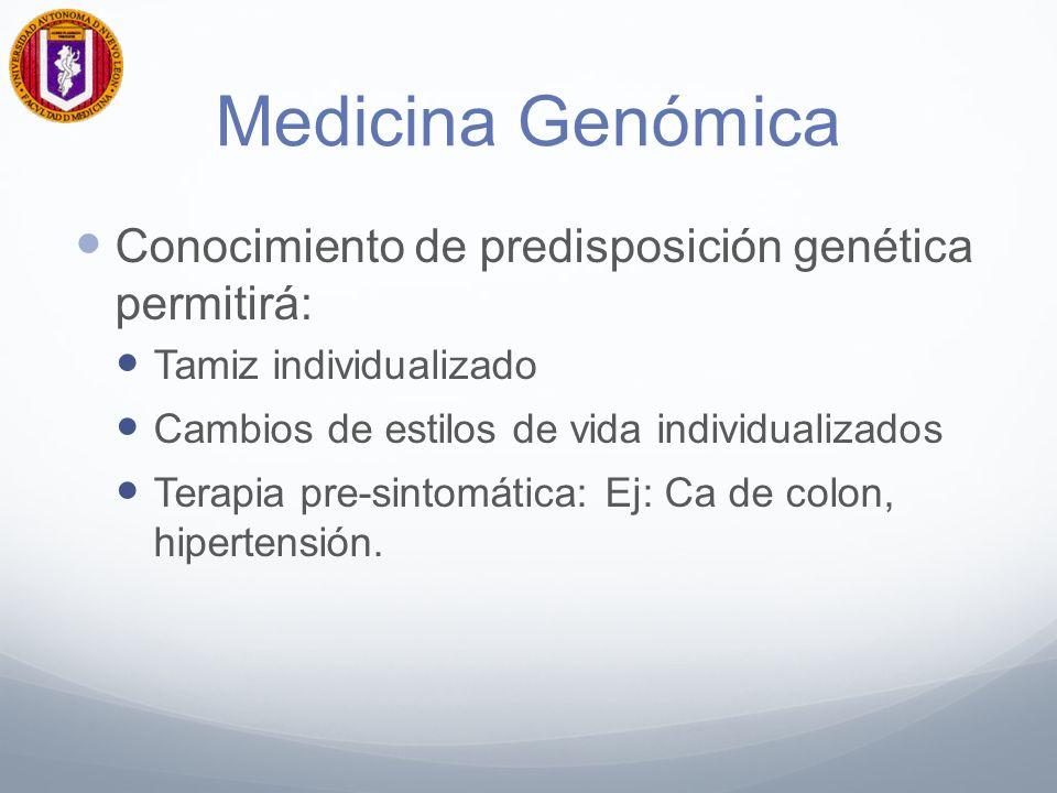 Medicina Genómica Conocimiento de predisposición genética permitirá: Tamiz individualizado Cambios de estilos de vida individualizados Terapia pre-sintomática: Ej: Ca de colon, hipertensión.