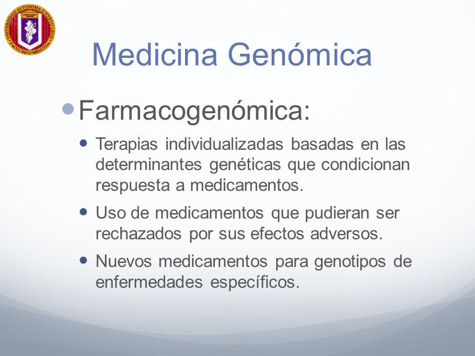 Medicina Genómica Farmacogenómica: Terapias individualizadas basadas en las determinantes genéticas que condicionan respuesta a medicamentos.