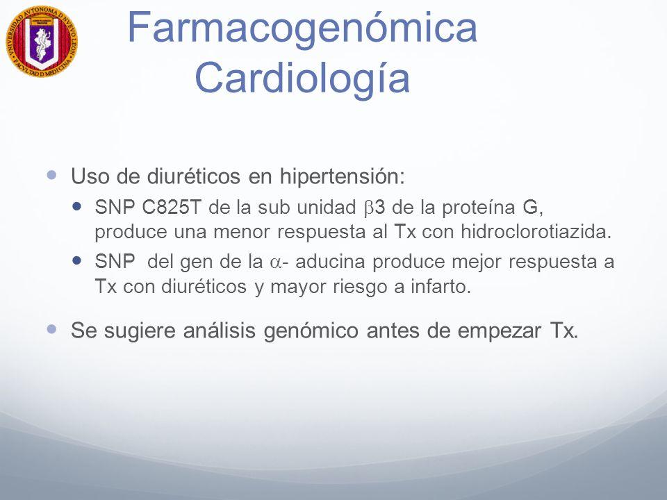Farmacogenómica Cardiología Uso de diuréticos en hipertensión: SNP C825T de la sub unidad 3 de la proteína G, produce una menor respuesta al Tx con hidroclorotiazida.