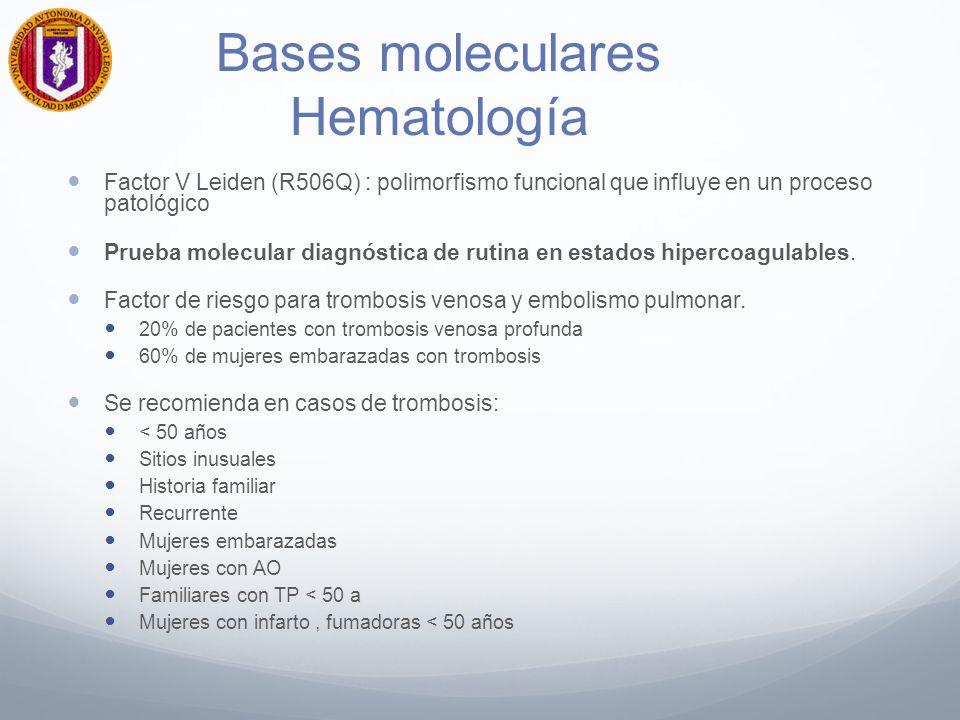 Bases moleculares Hematología Factor V Leiden (R506Q) : polimorfismo funcional que influye en un proceso patológico Prueba molecular diagnóstica de ru