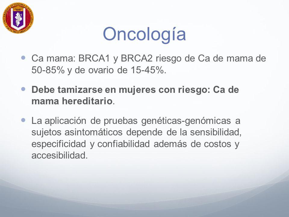 Oncología Ca mama: BRCA1 y BRCA2 riesgo de Ca de mama de 50-85% y de ovario de 15-45%.