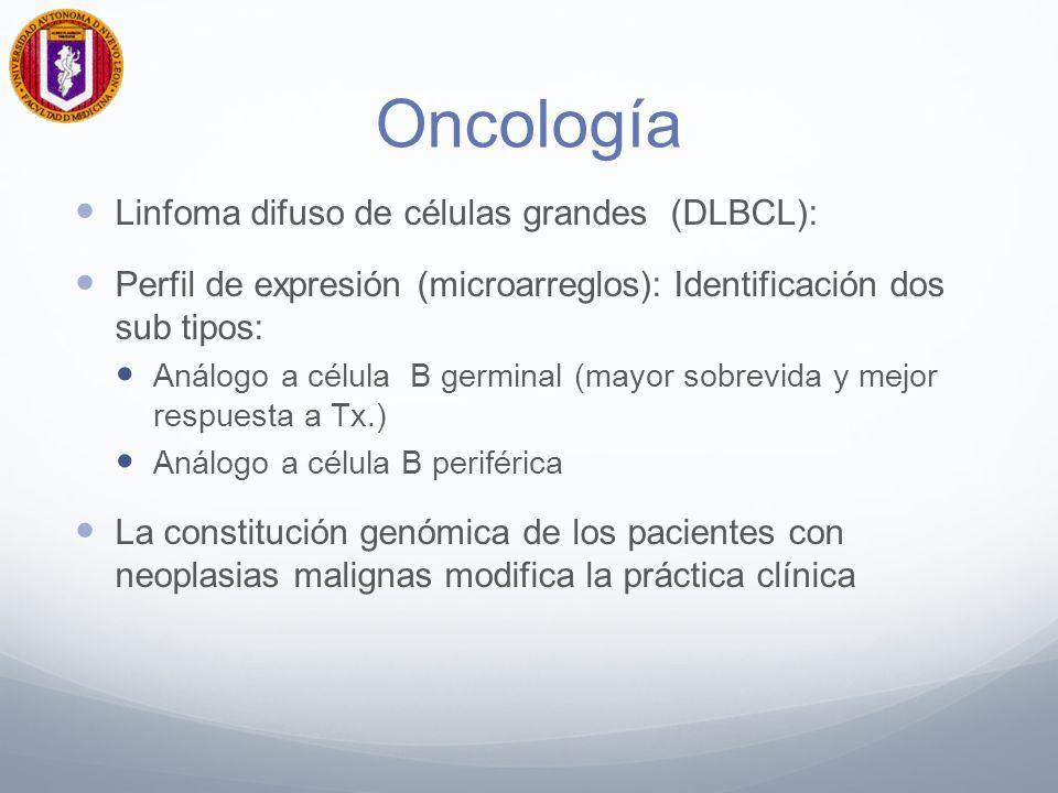 Oncología Linfoma difuso de células grandes (DLBCL): Perfil de expresión (microarreglos): Identificación dos sub tipos: Análogo a célula B germinal (mayor sobrevida y mejor respuesta a Tx.) Análogo a célula B periférica La constitución genómica de los pacientes con neoplasias malignas modifica la práctica clínica