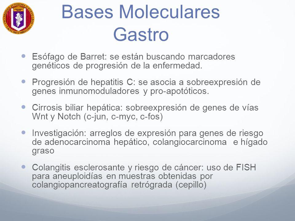 Farmaco Gastro- Psiq Crohn – CUCI y resistencia a corticoesteroides: No expresión del receptor de glucocorticoides Gen de resistencia a multifármacos PG17A CYP2D6: gen de citocromo asociado al metabolismo de psicofármacos y medicamentos para re-capatación de serotonina afecta la tasa metabólica de los fármacos W/W= Metabolizadores extensos W/w = Metabolizadores intermedios w/w= Metabolizadores lentos WW/WW= Ultrarápidos Variación étnica: alrededor del 6.7% son metabolizadores lentos (riesgo de intoxicación)