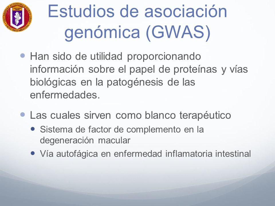 Estudios de asociación genómica (GWAS) Han sido de utilidad proporcionando información sobre el papel de proteínas y vías biológicas en la patogénesis de las enfermedades.