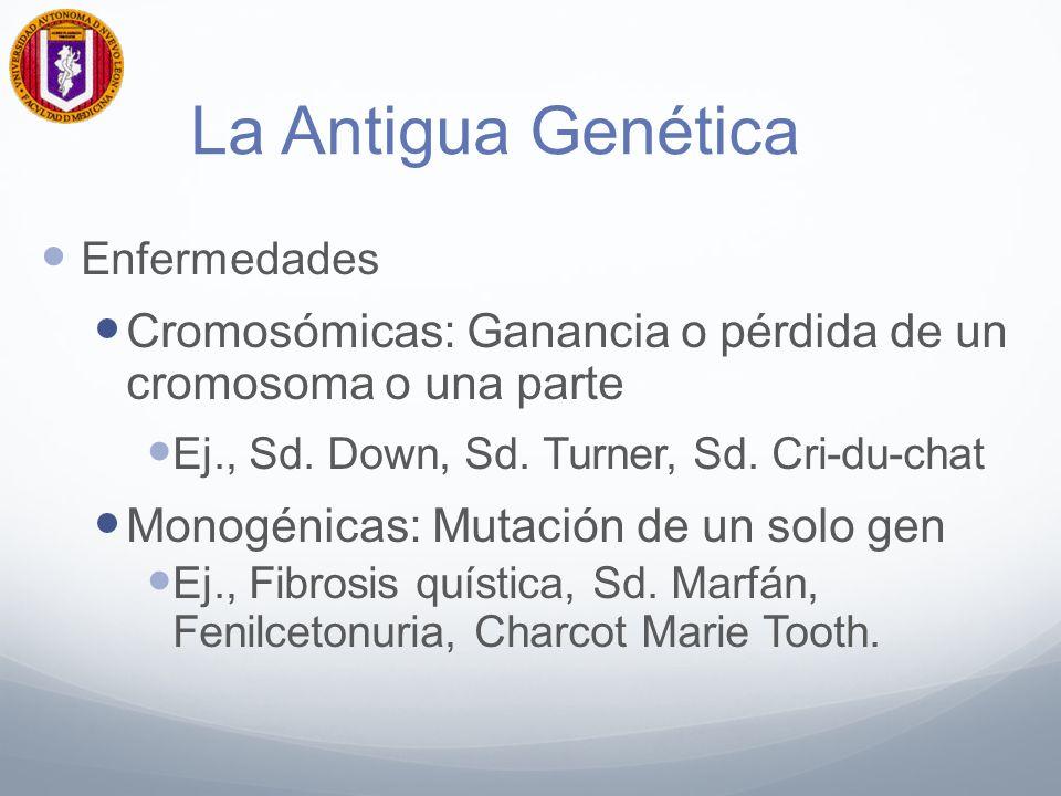 La Antigua Genética Enfermedades Cromosómicas: Ganancia o pérdida de un cromosoma o una parte Ej., Sd. Down, Sd. Turner, Sd. Cri-du-chat Monogénicas: