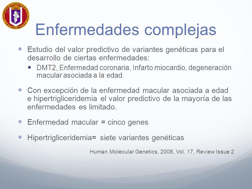 Enfermedades complejas Estudio del valor predictivo de variantes genéticas para el desarrollo de ciertas enfermedades: DMT2, Enfermedad coronaria, Infarto miocardio, degeneración macular asociada a la edad.