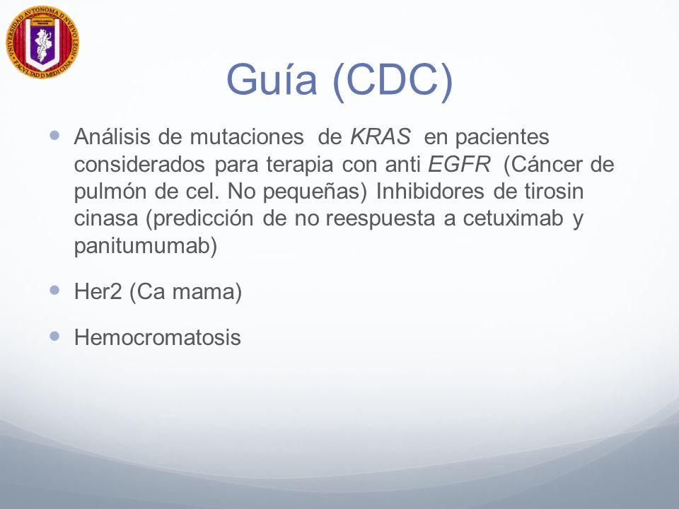 Guía (CDC) Análisis de mutaciones de KRAS en pacientes considerados para terapia con anti EGFR (Cáncer de pulmón de cel.