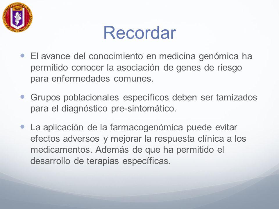 Recordar El avance del conocimiento en medicina genómica ha permitido conocer la asociación de genes de riesgo para enfermedades comunes.