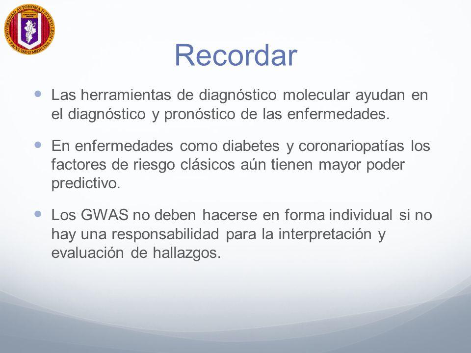 Recordar Las herramientas de diagnóstico molecular ayudan en el diagnóstico y pronóstico de las enfermedades. En enfermedades como diabetes y coronari