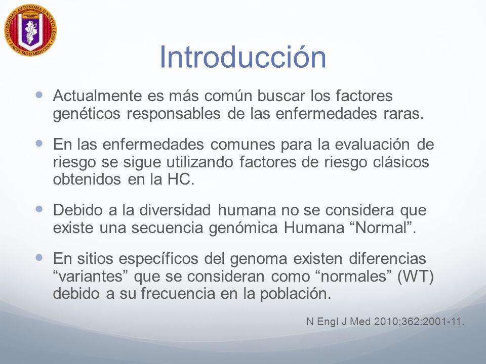Introducción Actualmente es más común buscar los factores genéticos responsables de las enfermedades raras. En las enfermedades comunes para la evalua