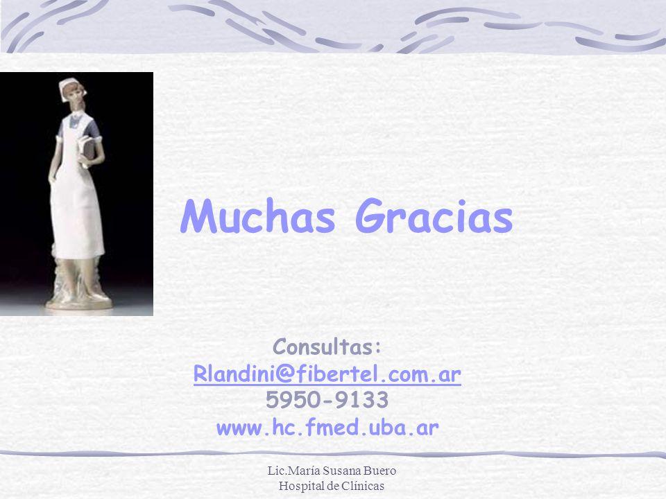 Lic.María Susana Buero Hospital de Clínicas Consultas: Rlandini@fibertel.com.ar 5950-9133 www.hc.fmed.uba.ar Rlandini@fibertel.com.ar Muchas Gracias