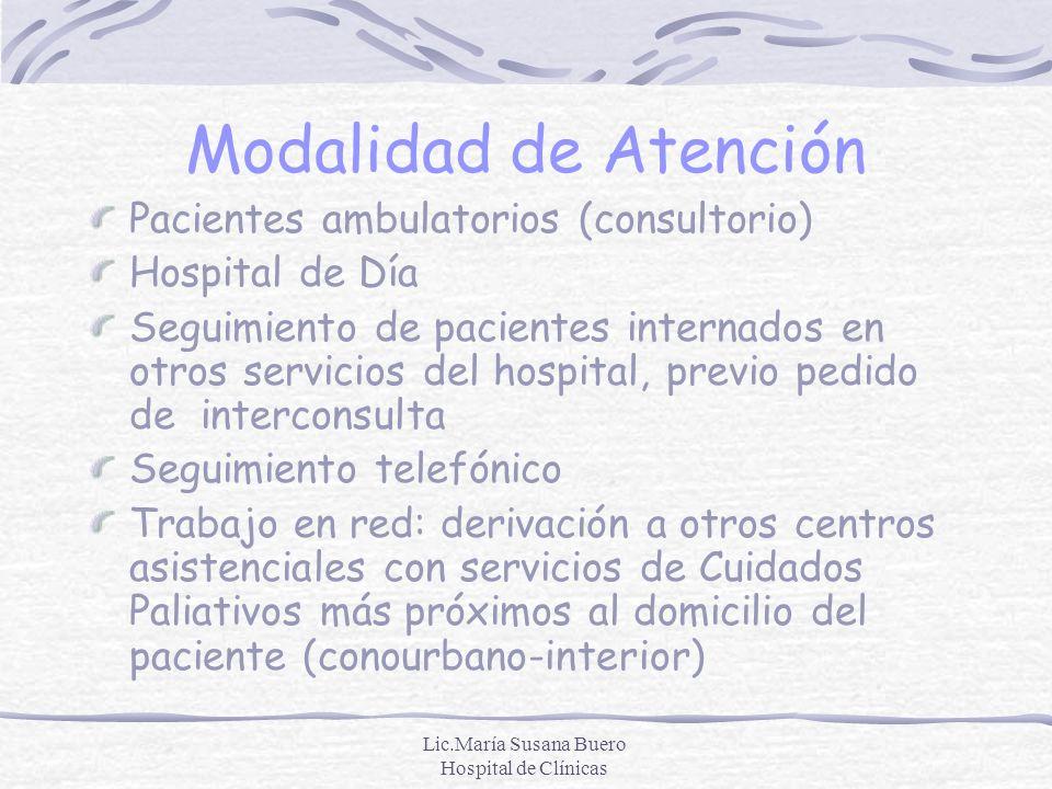 Lic.María Susana Buero Hospital de Clínicas Modalidad de Atención Pacientes ambulatorios (consultorio) Hospital de Día Seguimiento de pacientes intern