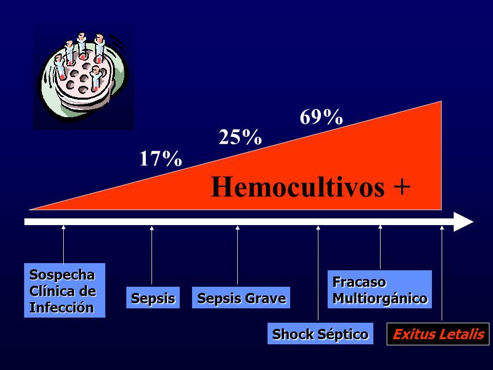 Sospecha Clínica de Infección Sepsis Sepsis Grave Shock Séptico FracasoMultiorgánico Exitus Letalis Hemocultivos + 69% 17% 25%