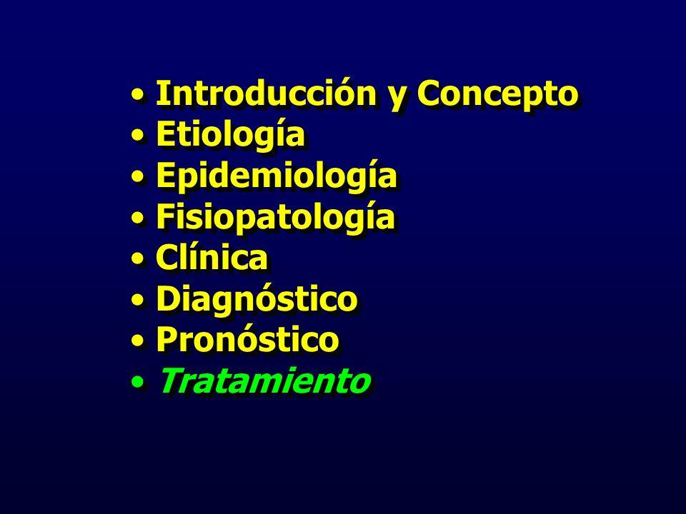 Introducción y Concepto Etiología Epidemiología Fisiopatología Clínica Diagnóstico Pronóstico Tratamiento Introducción y Concepto Etiología Epidemiología Fisiopatología Clínica Diagnóstico Pronóstico Tratamiento