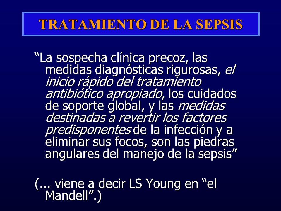 TRATAMIENTO DE LA SEPSIS La sospecha clínica precoz, las medidas diagnósticas rigurosas, el inicio rápido del tratamiento antibiótico apropiado, los c