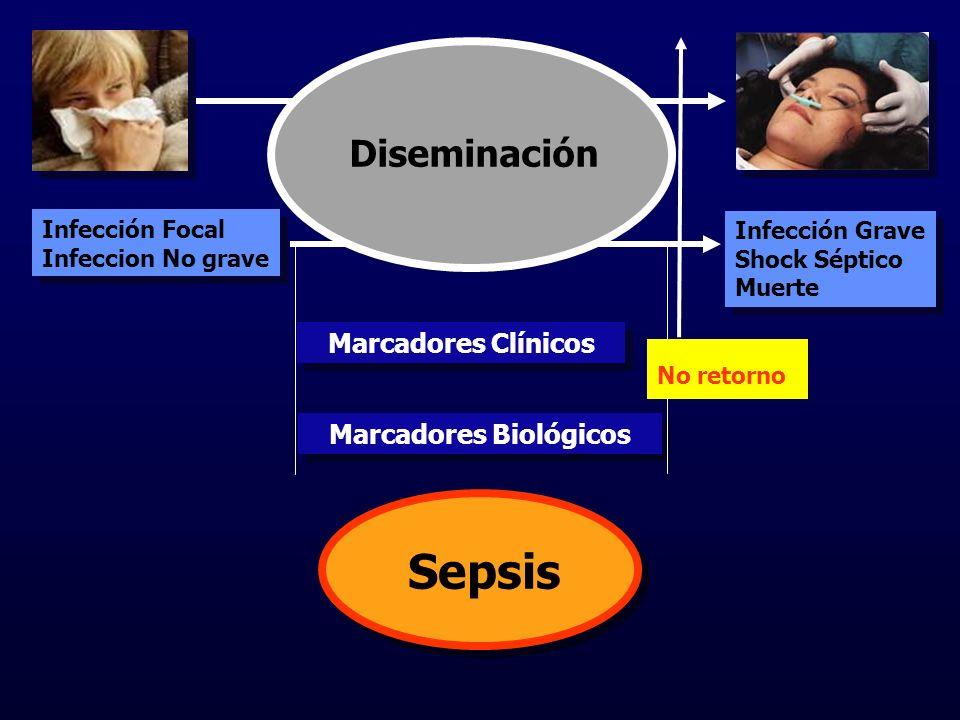 Infección Focal Infeccion No grave Infección Focal Infeccion No grave Infección Grave Shock Séptico Muerte Infección Grave Shock Séptico Muerte Marcadores Clínicos Marcadores Biológicos No retorno Sepsis Diseminación