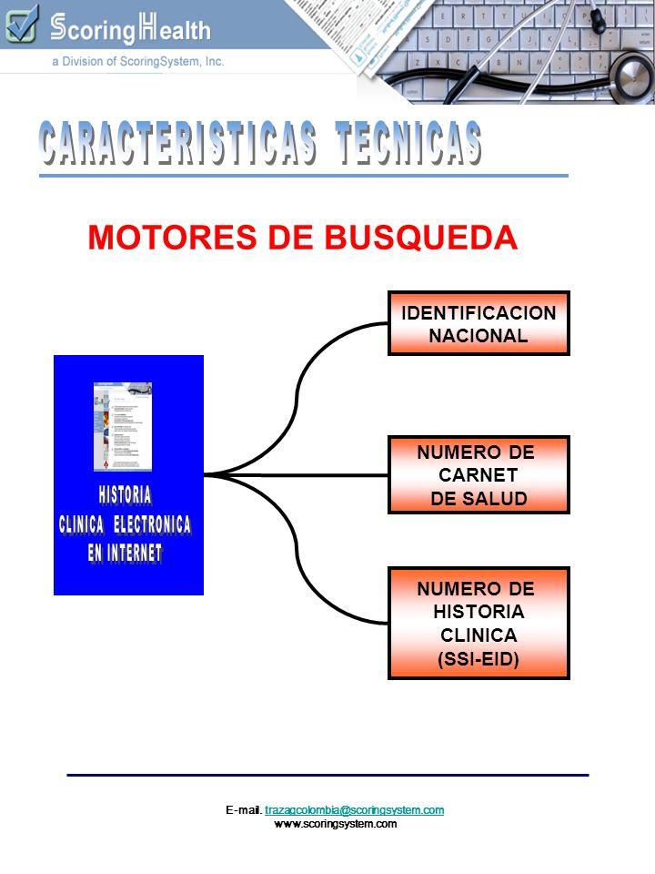 E-mail. trazagcolombia@scoringsystem.comtrazagcolombia@scoringsystem.com www.scoringsystem.com IDENTIFICACION NACIONAL NUMERO DE CARNET DE SALUD NUMER
