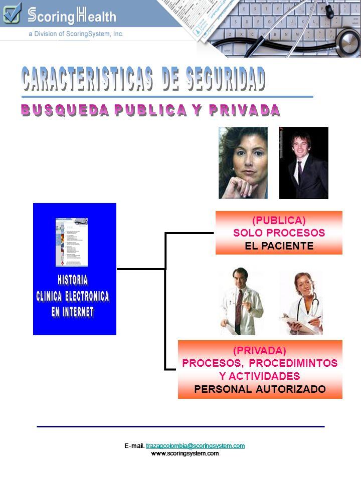 E-mail. trazagcolombia@scoringsystem.comtrazagcolombia@scoringsystem.com www.scoringsystem.com (PUBLICA) SOLO PROCESOS EL PACIENTE (PRIVADA) PROCESOS,