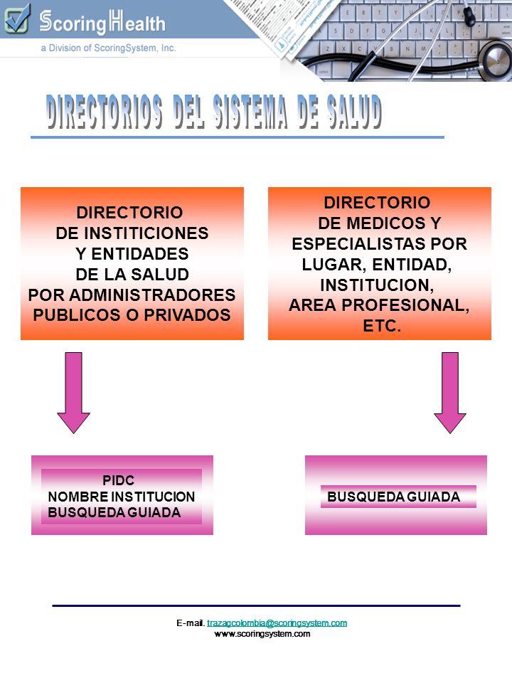 DIRECTORIO DE INSTITICIONES Y ENTIDADES DE LA SALUD POR ADMINISTRADORES PUBLICOS O PRIVADOS DIRECTORIO DE MEDICOS Y ESPECIALISTAS POR LUGAR, ENTIDAD,