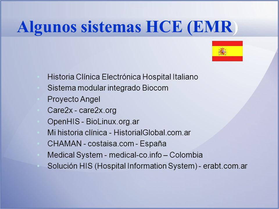 Algunos sistemas HCE (EMR) Inglés Google Health Microsoft HealthVault Praxis EMR (EE.UU.-desarrollo Argentina) FreeMed OpenHRE OpenEMR tkFP MirrorMed Oscar EMR Electronic Medical Record System