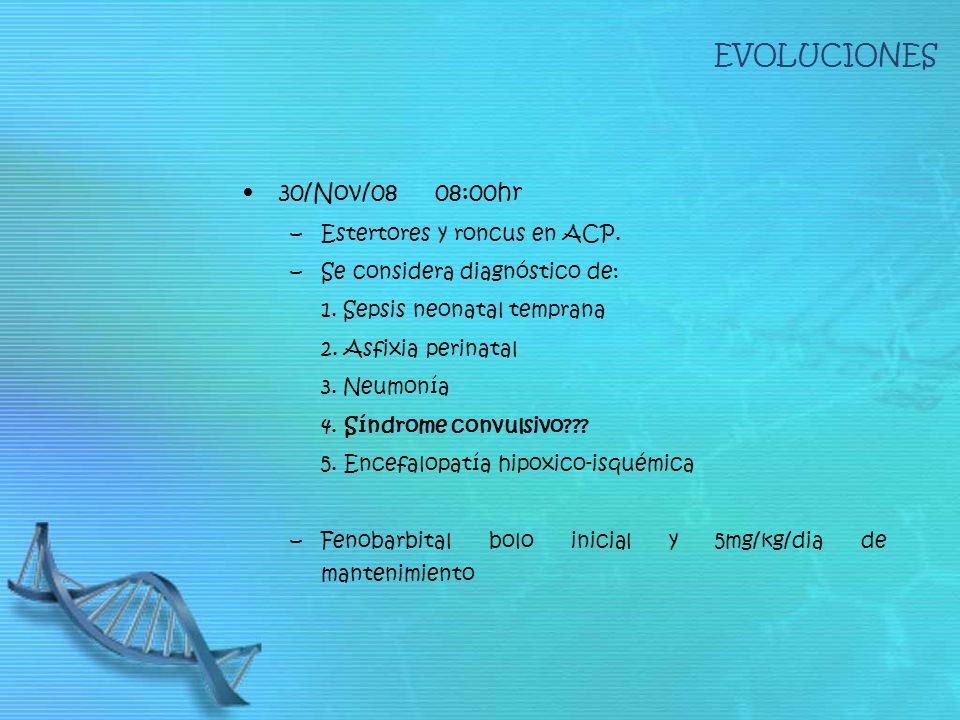 EVOLUCIONES 30/Nov/08 08:00hr –Estertores y roncus en ACP. –Se considera diagnóstico de: 1. Sepsis neonatal temprana 2. Asfixia perinatal 3. Neumonía