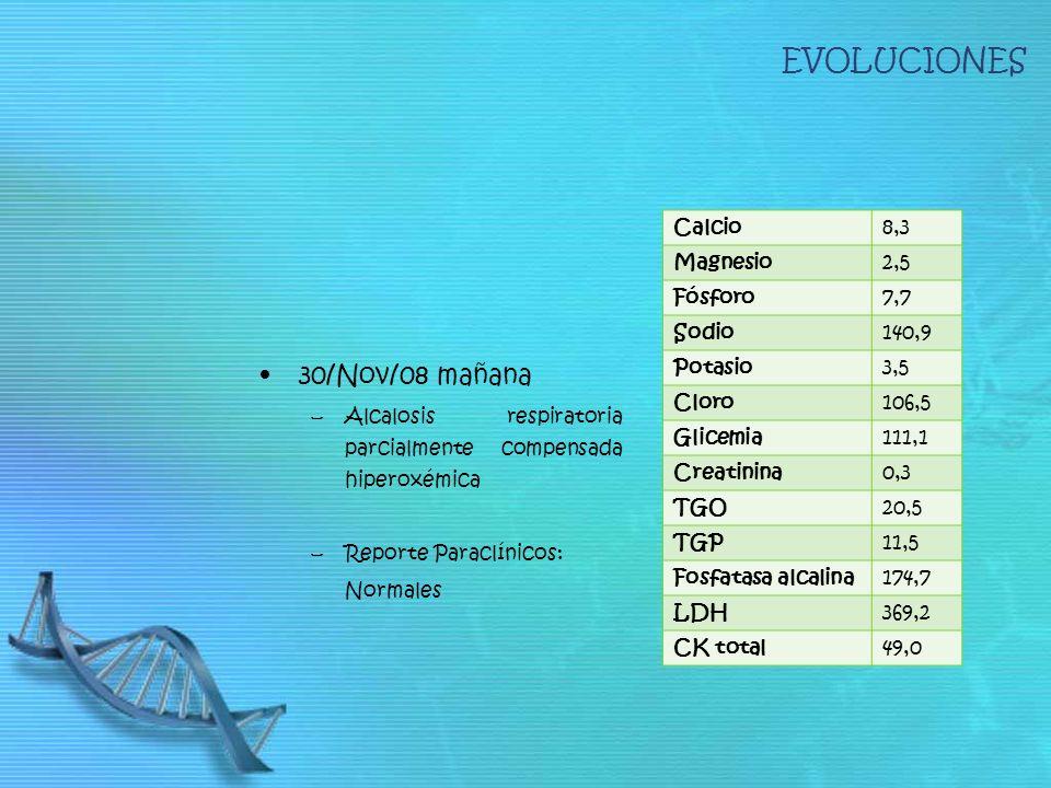EVOLUCIONES 30/Nov/08 mañana –Alcalosis respiratoria parcialmente compensada hiperoxémica –Reporte Paraclínicos: Normales Calcio8,3 Magnesio2,5 Fósfor