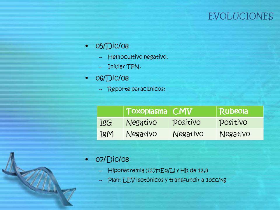 EVOLUCIONES 05/Dic/08 –Hemocultivo negativo. –Iniciar TPN. 06/Dic/08 –Reporte paraclínicos: 07/Dic/08 –Hiponatremia (127mEq/L) y Hb de 12,8 –Plan: LEV