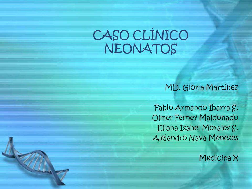 CASO CLÍNICO NEONATOS MD. Gloria Martínez Fabio Armando Ibarra S. Olmer Ferney Maldonado Eliana Isabel Morales S. Alejandro Nava Meneses Medicina X