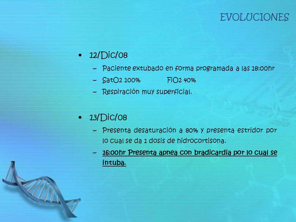 EVOLUCIONES 12/Dic/08 –Paciente extubado en forma programada a las 18:00hr –SatO2 100% FiO2 40% –Respiración muy superficial. 13/Dic/08 –Presenta desa