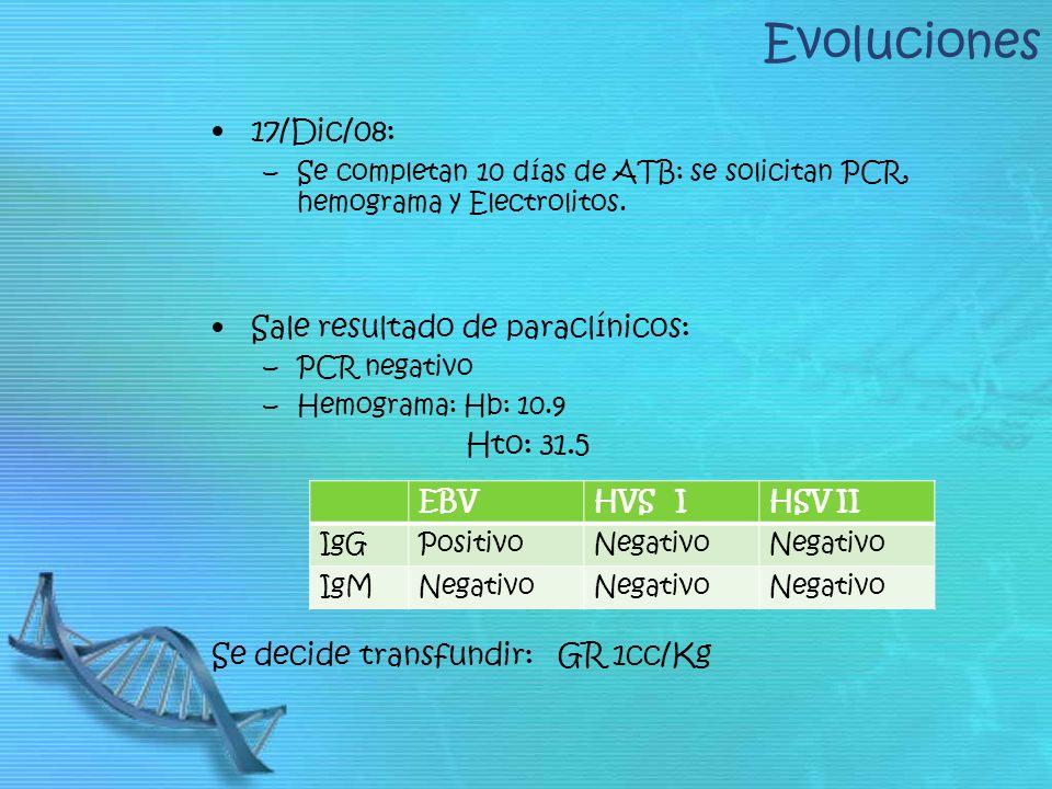 Evoluciones 17/Dic/08: –Se completan 10 días de ATB: se solicitan PCR, hemograma y Electrolitos. Sale resultado de paraclínicos: –PCR negativo –Hemogr