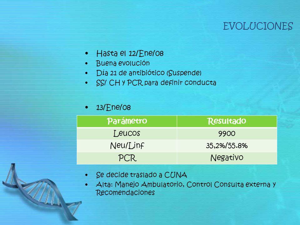 Hasta el 12/Ene/08 Buena evolución Día 21 de antibiótico (Suspende) SS/ CH y PCR para definir conducta 13/Ene/08 Se decide traslado a CUNA Alta: Manejo Ambulatorio, Control Consulta externa y Recomendaciones ParámetroResultado Leucos9900 Neu/Linf35,2%/55.8% PCRNegativo EVOLUCIONES