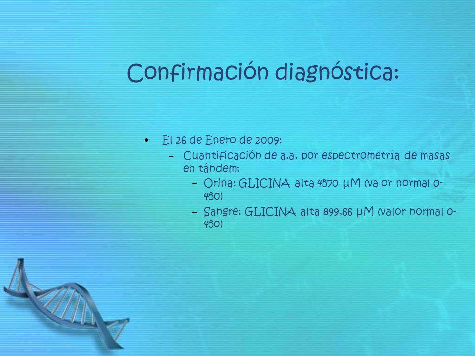 Confirmación diagnóstica: El 26 de Enero de 2009: Cuantificación de a.a. por espectrometría de masas en tándem: Orina: GLICINA alta 4570 μM (valor nor