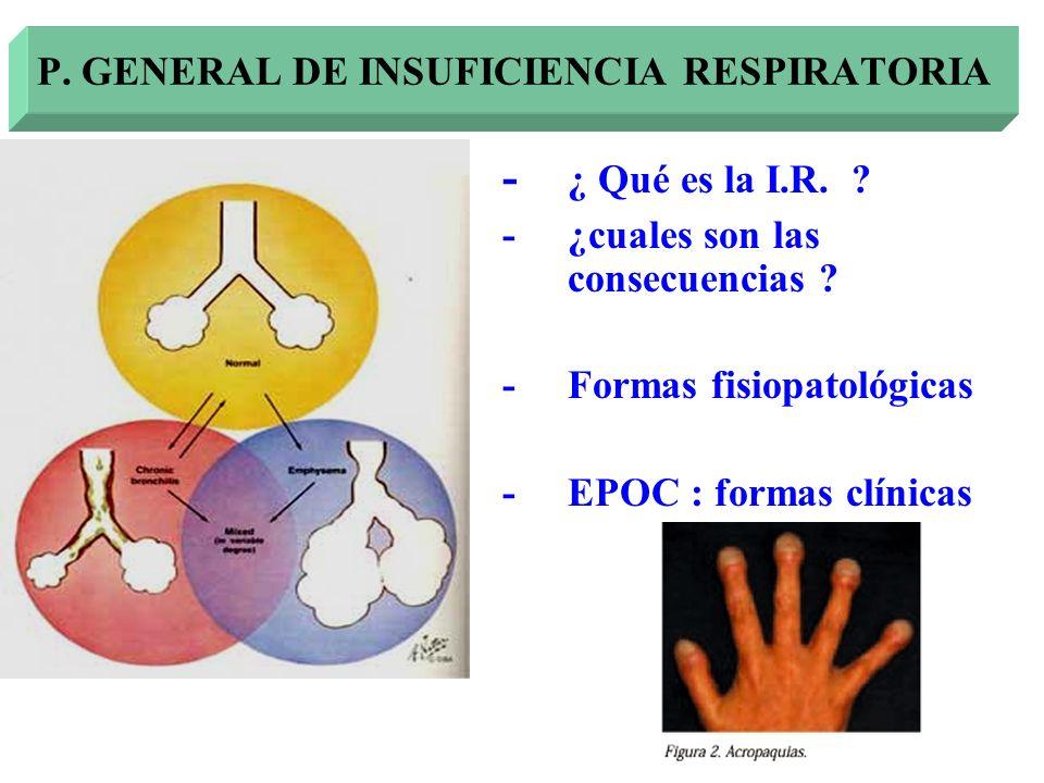 - ¿ Qué es la I.R. ? - ¿cuales son las consecuencias ? -Formas fisiopatológicas -EPOC : formas clínicas P. GENERAL DE INSUFICIENCIA RESPIRATORIA