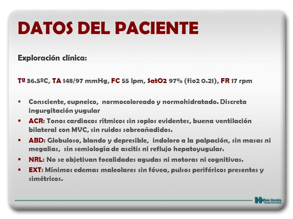 DATOS DEL PACIENTE Exploración clínica: Tª 36.5ºC, TA 148/97 mmHg, FC 55 lpm, SatO2 97% (fio2 0.21), FR 17 rpm Consciente, eupneico, normocoloreado y
