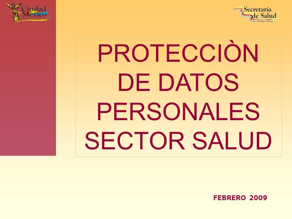 PROTECCIÒN DE DATOS PERSONALES SECTOR SALUD FEBRERO 2009