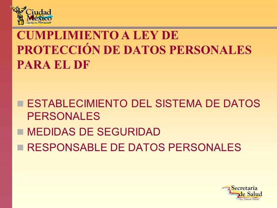 CUMPLIMIENTO A LEY DE PROTECCIÓN DE DATOS PERSONALES PARA EL DF ESTABLECIMIENTO DEL SISTEMA DE DATOS PERSONALES MEDIDAS DE SEGURIDAD RESPONSABLE DE DA