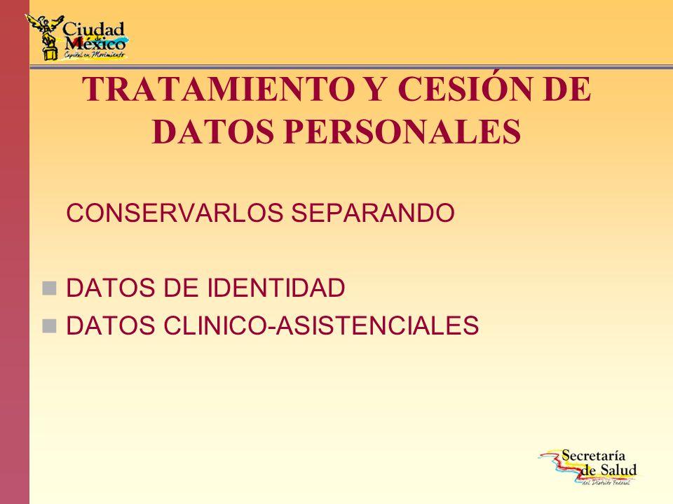 TRATAMIENTO Y CESIÓN DE DATOS PERSONALES CONSERVARLOS SEPARANDO DATOS DE IDENTIDAD DATOS CLINICO-ASISTENCIALES