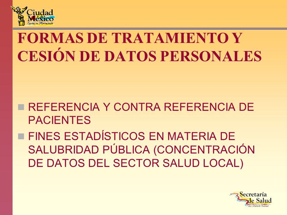 FORMAS DE TRATAMIENTO Y CESIÓN DE DATOS PERSONALES REFERENCIA Y CONTRA REFERENCIA DE PACIENTES FINES ESTADÍSTICOS EN MATERIA DE SALUBRIDAD PÚBLICA (CO