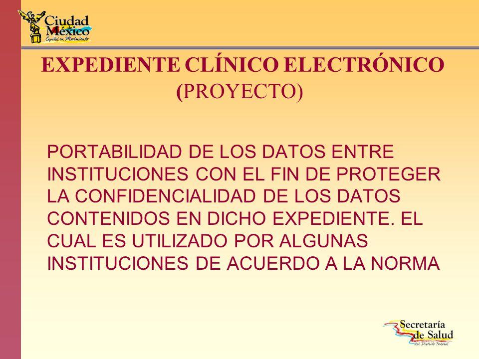 EXPEDIENTE CLÍNICO ELECTRÓNICO (PROYECTO) PORTABILIDAD DE LOS DATOS ENTRE INSTITUCIONES CON EL FIN DE PROTEGER LA CONFIDENCIALIDAD DE LOS DATOS CONTEN